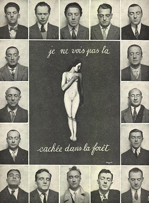 """je ne vois pas la (femme)cachee dans la foret"""". עטיפת המגזין 'המהפכה הסוראליסטית', גיליון מס' 12 -,15/12/1929, רנה מגריט, פוטומונטאז, 1929. מופיעים עם כיוון השעון: מקסים אלכסנדר, לואי אראגון, אנדרי ברטון, לואי בונואל, ז'אן קואפן, פול אלואר, מרסל פורייר, רנה מגריט, אלברט ולנטין, אנדרי ת'יריון, איב טנג'י, ג'ורג' סאדול, פול נוגה, קאמיל ג'ומנס, מקס ארנסט, סלבדור דאלי"""